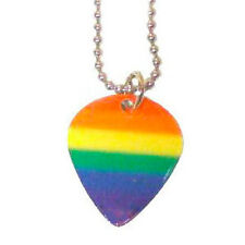 Gay Rainbow Guitar Pick Pendant - Musicians LGBT Gay & Lesbian Pride Necklace