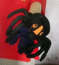 """10"""" Halloween plush spider hand puppet on black right hand glove"""