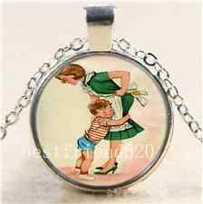 Mother and Son Photo Cabochon Glass Tibet Silver Chain Pendant  Necklace