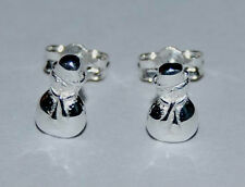 Sterling Silver Christmas Snowman Ear Studs 8mm tall with Butterfly backs.
