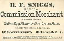 R.F. Sniggs, Butter, Eggs, Cheese, Oysters, Game, Buffalo NY  Tradecard 1880's