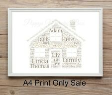 Personalised New Home Word Art Gift Keepsake A4 Print Only House warming