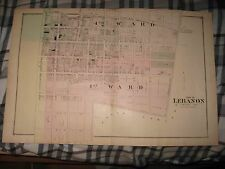 ANTIQUE 1875 LEBANON CITY 1ST 4TH WARD LEBANON COUNTY PENNSYLVANIA HANDCOLOR MAP