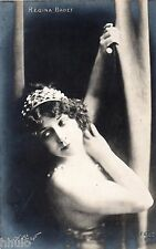 BE519 Carte Photo vintage card RPPC Femme woman Regina Badet unusual  couronne