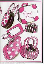 Travel Diary Journal World Maps Trip Holiday A5 Slipcover Checklist Pink Luggage