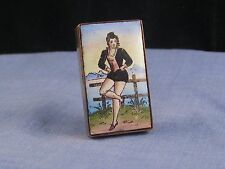 FRENCH LADY ANTIQUE ENAMEL & BRASS VESTA CASE MATCHSAFE MATCH BOX RISQUE EROTIC