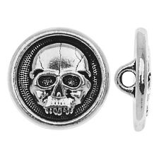 TierraCast Pewter, Round Button Scary Skull Face 16.5mm, 1 Pc., Antiqued Silver