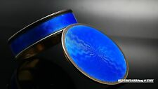 1919 Asprey by Marius Hammer Sterling Guilloche Blue Enameled Box