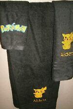 Pikachu Pokemon Personalized Pokemon 3 Piece Bath Towel Set  Any Color Choice