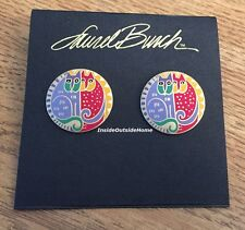 Laurel Burch Kindred Cats Earrings Multi Cloisonne Gold Tone NEW Retired Rare
