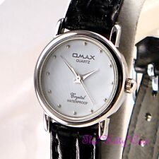 Swiss Omax Waterproof Silver White Ladies Laser Seiko Movt Leather Watch SC7432