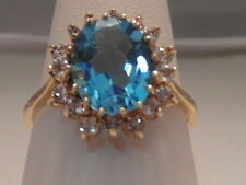 363F VINTAGE LADIES 9CT GOLD BLUE TOPAZ AND ZIRCONIA CLUSTER RING SIZE O