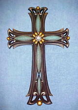 "Wall Hanging Cross Decor 16""x10"" Turquoise/Black Rhinestone Center 3 Dimensional"