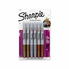 Sharpie Metallic Fine Point Tip Permanent Marker, 6 Pack, Assorted Colors NEW