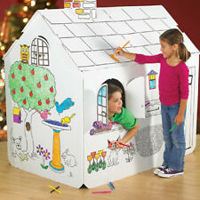 "2 PC Corrugated Playhouse +8 Markers NEW 54"" L x 48"" H fold 4 Storage Color It!"