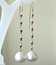WHITE SOUTH SEA 14.1mm!! PEARLS 100% UNTREATED +18ct SOLID Y GOLD EARRINGS +CERT