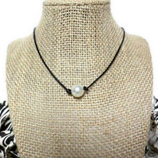 Women Black Leather Ring Cord Single Pearl Pendant Choker Jewelry Chain Necklace