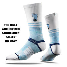 Strideline® 2.0 Split Tar Heel, UNC Tar Heels, White Baby Blue Crew Socks NEW