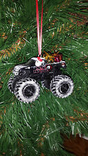 Hot Wheels Monster Jam Metal Mulisha  w/Santa,gifts,snow R Christmas Ornament