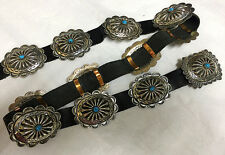 Navajo Signed Benson Sam .925 Sterling Silver Turquoise Concho Belt