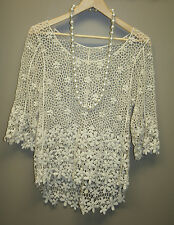 Women's Crochet Top, Elegant Lace Blouse, White (Size: S), White off, Ivory Top