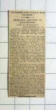 1927 Manchester To Adopt Sunderland Police Box System