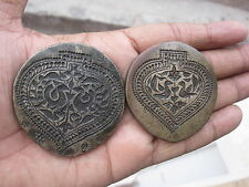 Old or antique bell metal jewellery stamp die seal deep engraved flower 2pcs