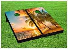 Tropical CORNHOLE BEANBAG TOSS GAME w Bags Game Boards Island Paradise Set 806