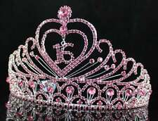 A89153 PINK AUSTRIAN RHINESTONE CROWN TIARA WITH HAIR COMBS SWEET 16 BIRTHDAY
