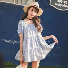 Short Sleeve Babydoll Dress Kawaii Lolita Korean Fashion Cute Casual Spring US