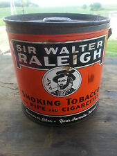 VINTAGE SIR WALTER RALEIGH TOBACCO TIN - Primitive Condition