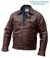 Mens Luftwaffe leather FLYING JACKET brown horsehide Pilots flight coat S M L XL