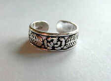 Sterling Silver (925) Adjustable  Leaf  And  Flower Toe Ring  !!       New !!