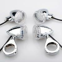 4X BULLET STYLE LED INDICATORS FOR HARLEY DAVIDSON HD1 41mm Silver