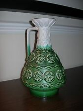 BAY KERAMIK GREEN VASE 77 25 WEST GERMANY POTTERY VINTAGE EARTHENWARE FLOWERS