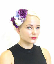 Purple & Ivory White Flower Fascinator Vintage Races Hair Clip Orchid 1940s Y17