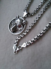 Silver Sterling 925 WOLF VIKING Fenrir PENDANT with Solid Sterling Silver CHAIN