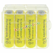 4 pcs AA 3000mah NiMH 1.2v Yellow Rechargeable Battery+1 pcs Plastic case