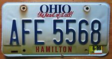 Ohio 1999 HAMILTON COUNTY THE HEART OF IT ALL License Plate NICE # AFE 5568