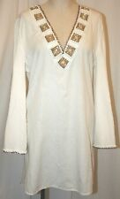 INCA LINEN JEWELED SUMMER SUN DRESS LONG SLEEVE TUNIC BONE BEACH COVER UP L