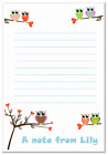 na Personalised NOTELETS writing paper pk 14 & envs, OWL A6 & A5 birds