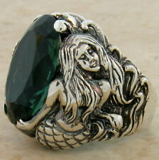 MERMAID RING SIM EMERALD 925 STERLING SILVER RING SIZE 8,                   #829