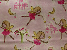FAIRY Fabric Fat Quarter Quilting Craft Flannel  Cotton PINK Girls