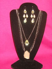SIMPLY VERA WANG NWT $56 long necklace  & earrings women's se champagne