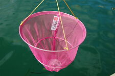CRAB DROP NET -  PINK with BAIT CLIP & ROPE - SAFE CRABBING FAMILY PACK of 4