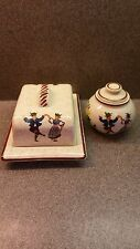 ALPINE PEASANT WARE GERMANY HAND PAINTED BUTTER CHEESE DISH WITH LID
