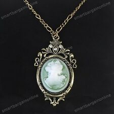 1pc Bronze Lady Cameo Beauty Frame Pendant Necklace Sweater Chain Necklace Jewel