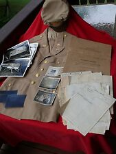 WW2 USAAF Officer LOT Khaki Jacket Crusher Cap Declassified Photos & 201 File