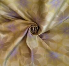 14m Retro Floral 'Atomic' Design Quality Curtain Fabric In Lime
