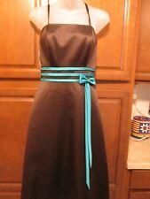 DaVinci 9265 Size 12 Chocolate Brown/Teal Prom Bridesmaid Dress NWT $129 Satin
